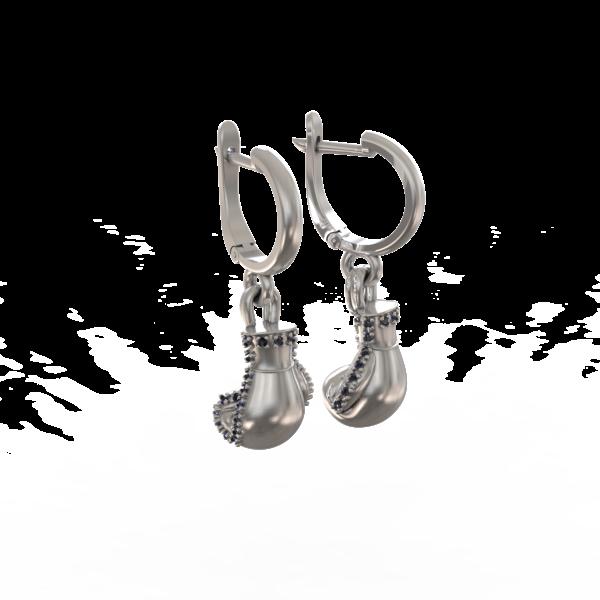 Боксерские перчатки – серьги (с камнями)